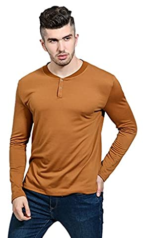 Whatlees Mens Casual Solid Long Sleeve Crew Neck Two Button Slim Fit Underwear Henly Shirt T-Shirts B621-Brown-XL