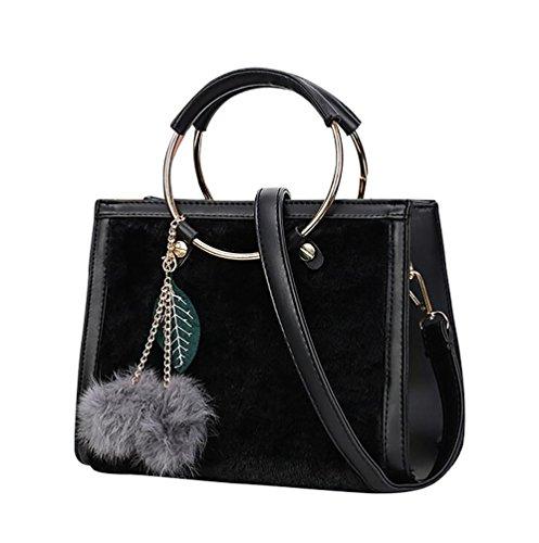 YouPue Damen Klassisch Handtaschen Prägung Leder Schultertasche Weiblichen Beutel Handtaschen Für Frauen Handtasche Schwarz