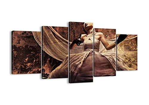 Bild auf Leinwand - Leinwandbilder - fünf Teile - Breite: 160cm, Höhe: 85cm - Bildnummer 0217 - fünfteilig - mehrteilig - zum Aufhängen bereit - Bilder - Kunstdruck - EA160x85-0217 (Halloween-kostüme Schauspielerin Film)