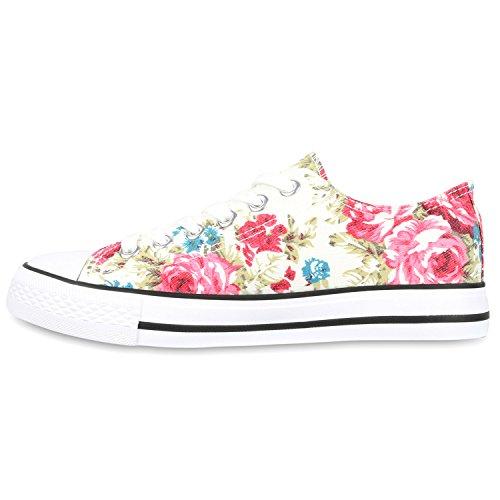 Damen Sneakers Low Blumen Prints Freizeit Schuhe Turnschuhe Weiss Muster