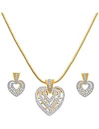 JFL - Fusion Ethnic One Gram Gold Plated Cz American Diamond Designer Pendant Set For Women & Girls.