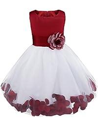 iEFiEL Robe Demoiselle Enfant Jupe Loose Pétales Noeud Papillon au Dos Fleur Robe Cérémonie Filles 2-14 Ans