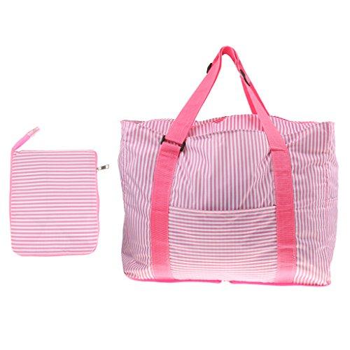 Aufbewahrungstasche Gestreifte Faltbare Handtasche Schultertaschen Taschen Reise Lagerung Kaffee Einkaufen - Kaffee Rosa