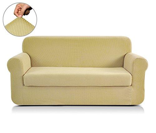 CHUN YI 2-Stück Jacquard Sofaüberwurf, Sofaüberzug, Sofahusse, Sofabezug für Sofa, Couch, Sessel, mehrere Farben (2-Sitzer, Hellgelb/Golden)