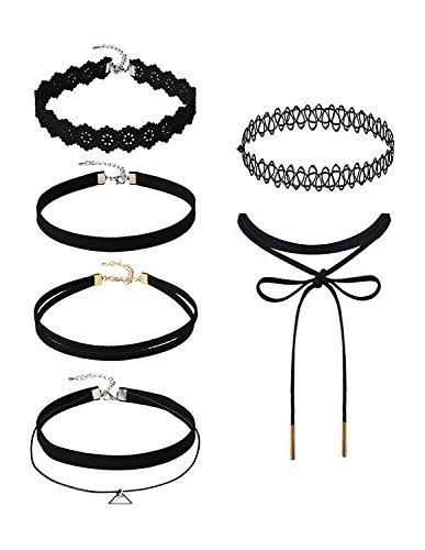 6 Stück Choker Halsketten Set Velvet Halskette Tattoo Halsband Schwarz Halsband