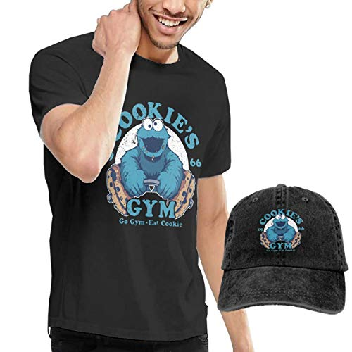 Knitkee Cookie Monster Herren Klassisch T Shirt and Hüte Kombination Black S - Monster-pyjama Herren-cookie