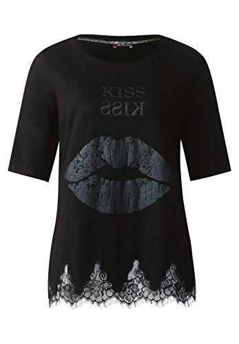 Street One Damen Shirt mit Spitzensaum Black (Schwarz)
