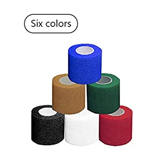 Hxiu 6 Colours Security Protection First Aid Survival Elastic Bandage Self-Adhesive Gauze Tape Cohesive5cm*4.5M,10cm*4.5M. (Multicolor-5cm*4.5M)