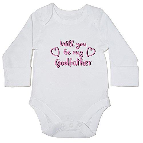 hippowarehouse Will You Be My Godfather (Pink) Baby Weste Body (Langarm) Jungen Mädchen Gr. 56, weiß
