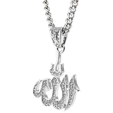 NIDABI - Alá musulmán - Collar de hombre - Cadena con colgante - 62 cm