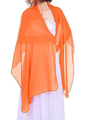 Dressystar Chiffon Stola Schal für Kleider in verschiedenen Farben Orange 200cm*50cm