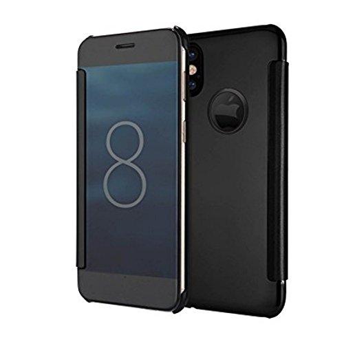 Cover iphone X, Sunroyal Lusso Shock-Absorption Bumper e Anti-Scratch Custodia in Alluminio PC Acrilico in Metallo Specchio Back Case protettiva shell per Apple iphone X 5.8 - Nero Modello 08