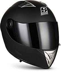 SOXON ST-550 Fighter · Sturz-Helm Helmet Urban Motorrad-Helm Scooter-Helm Integral-Helm Sport Cruiser Roller-Helm · ECE zertifiziert · inkl. Sonnenvisier · inkl. Stofftragetasche · Schwarz · S (55-56cm)