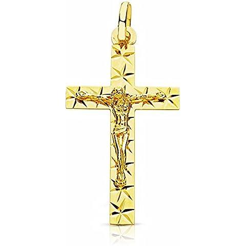 Oro 18k crocifisso scolpito cristo 34 millimetri. [AA2206] - 18k Crocifisso
