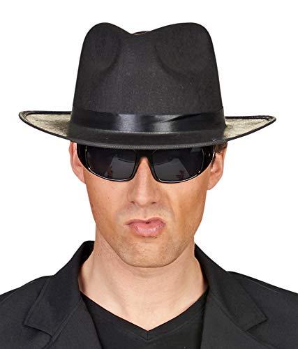 Das Kostümland Detektiv Geheimagent Brille - Schwarz - Zubehör Gangster Spion Partybrille verdunkelte Gläser Fasching Mottoparty