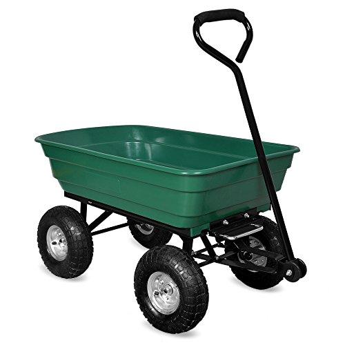 Deuba Brouette verte - Chariot de jardin avec fonction d'inclinaison, essieu directeur et pneumatiques