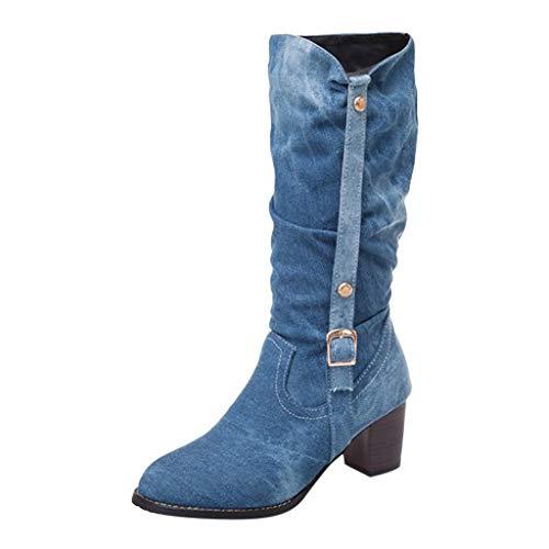 Deloito Damen Stilvoll Boots Dicke Plattform Hohe Stiefel Cowboy Schnürer Runder Zeh Freizeit Schuhe College Studenten Elegant Ritter Langschaft Schlupfstiefel (Himmelblau,37.5 EU) - Echtleder-plattform