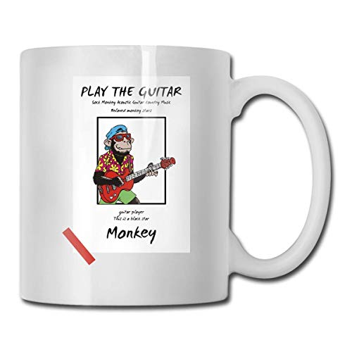 Fgrygf Sock Monkey Acoustic Guitar Country Music Exquisite 11 Ounce Ceramic Coffee Mug, Teacup, Cup