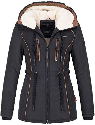 Marikoo Damen Winter Jacke warme Winterjacke Parka Mantel Teddyfell B610 [B610-Mai-Schwarz-Gr.XL]