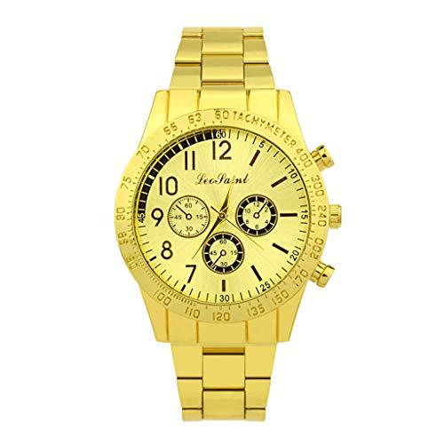 IG Invictus Mode Edelstahl Herren Quarz Uhr Herrenuhr Luxus Lässige Uhr Herrenuhr aus Metall ZYBFLS 17 PEOTAINL MIT Männer Uhren aus Gold