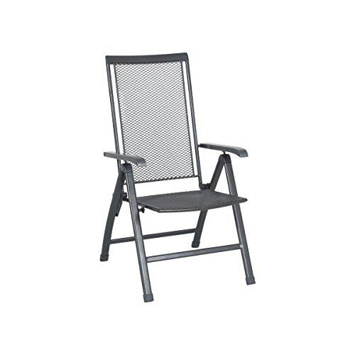 Kunststoff Grau Klappsessel (greemotion Klappsessel Toulouse Premium eisengrau, 5-fach verstellbare Rückenlehne, Stuhl mit kunststoffummanteltem Stahl, platzsparend klappbarer Gartenstuhl, wetterfest und pflegeleicht)