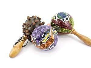 Ciffre lot de 3 set de filet hochet maracas noix de coco pour percussion shaker bon maracas multicolore rSH son