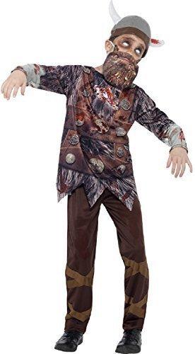 ombie Wikinger unheimlich Halloween Kostüm mit Hut & Bart 4-12 Jahre - 4-6 years (Wikinger-hut-bart)