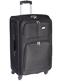 Maleta 4Ruedas Spinner suave caso equipaje de viaje extensible mango telescópico de 47x 77x 33cm H97negro grande