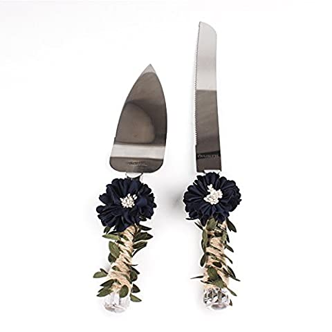 Lugii Cube Feuille Floral de mariage cadeau de douche avec poignée de ficelle rustique gâteau de mariage couteau et ensemble de serveurs