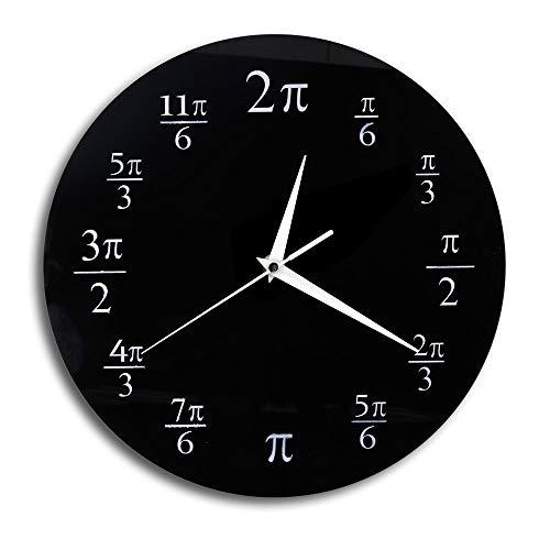 XINTANG Wanduhr 3,14 Pi Wanduhr mathematische Pi Klassenzimmer Wand Dekor schwarz Acryl Pop Quiz Wanduhr Inneneinrichtungen Geek Nerd Mathe schickes Geschenk