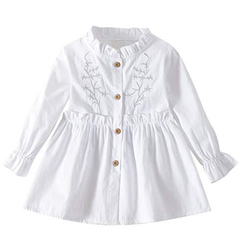 YpingLonk Kinder Langarm Rüschen Solid Print Princess Kleid Kleinkind-Baby-Lange Hülsen-Feste mit Rüschen besetzte geblümte gekleidete Kleidung