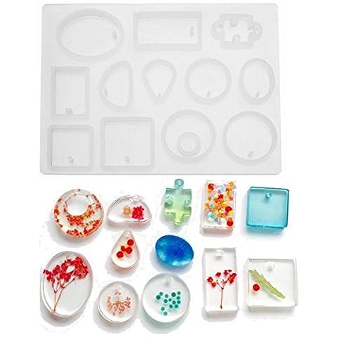 KING DO WAY Moule Pour Pendentif Boucle Bracelet Bijoux Fabrication Loisirs Créatifs DIY Bricolage Jewelry Mold Blanc 14.6cmX10.8cmX0.9cm