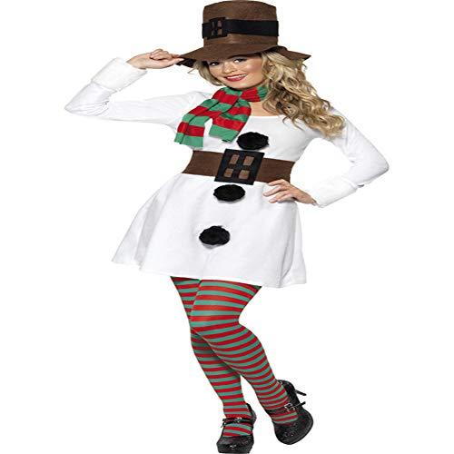 Kostüm Weihnachten Spielt Für - CVCCV Weihnachten Schneemann spielt Uniform Halloween Cosplay Kostüm New Year Anzug Polyester Stoff für Frauen
