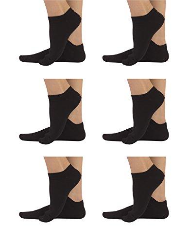 6 Pares de Calcetines Tobilleros Unisex en Algodon | Calzetines Cortos Para Hombre y Mujer | Negro, Blanco, | Calcetería ITALIANA | (Negro, 39/42)