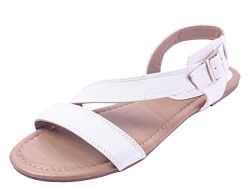 Ageemi shoes donna luccichio puro senza tacco fibbia sandali,eul26 bianco-26 36