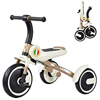 MC-F Portable Kids Tricycle, Foldable Children 3 Wheel Pedal Bike, for 3-6 Years Kids and Toddlers - 80-120 CM,Yellow