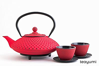 teayumi–Chiyo Set Théière en fonte 1,2L Rouge