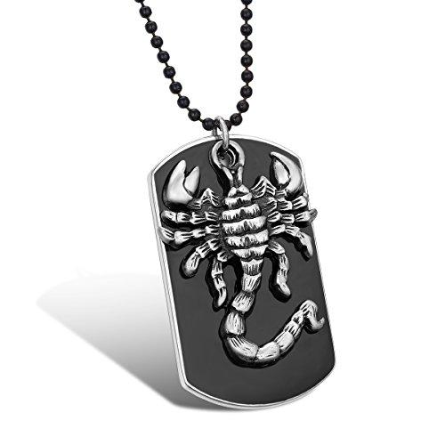 JewelryWe Schmuck Skorpion Hundemarke Dog Tag Anhänger mit 70cm Kette, Herren Halskette Kugelkette, Schwarz Silber - mit Geschen Tüte, mit kostenlos Gravur