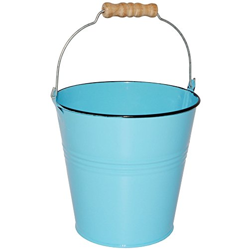 Unbekannt 1 Stück _ Kleiner - Metalleimer -  hell blau - Pastell Farben  - 15,5 cm hoch - 1,8 Liter - mit 3-D Effekt Rillen Prägung - Metall - Blech Eimer - Partyeime..