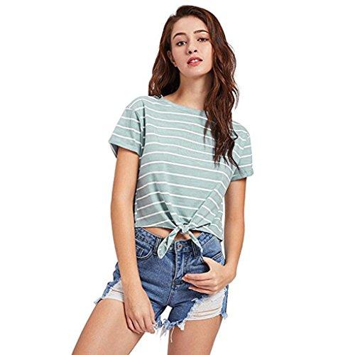 TUDUZ Schöne Oberteil Damen Sommer Elegant Bauchfrei O-Ausschnitt Streifen Slim Fit Kurzarm T-Shirt Bluse Tops