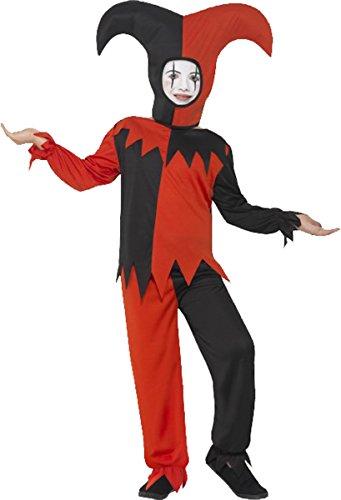 Kinder Fancy Party Thema Zirkus Outfit Jungen Twisted Jester Halloween-Kostüm Gr. S Alter 4-6, rot / schwarz (Jester Outfit)