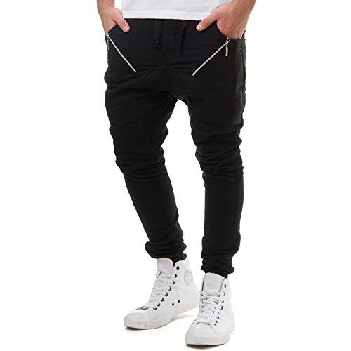 EightyFive Herren Jogginghose Sweatpants Zipper Gesteppt Schwarz Weiß 305