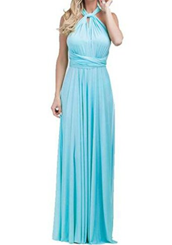 Evalent Damen Brautjungfer Abend Maxikleid Elegant Wrap Lang Cocktail Medium, blau (Abend Wrap)
