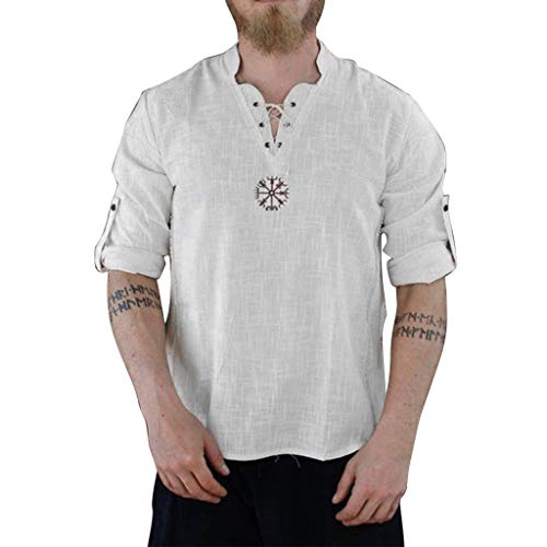 rren Neu Schneeflocke Shirt Baumwolle und Leinen Freizeit Shirt Lange Ärmel Strand Fitness Sonnenschutzkleidung ()