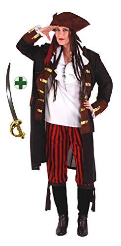 Karneval-Klamotten Piraten-Kostüm Damen Kostüm Pirat Kapitän Komplett-Kostüm Piraten-Mantel Damen inkl. Hose Piraten-Hut + Piraten-Säbel Größe 40-42