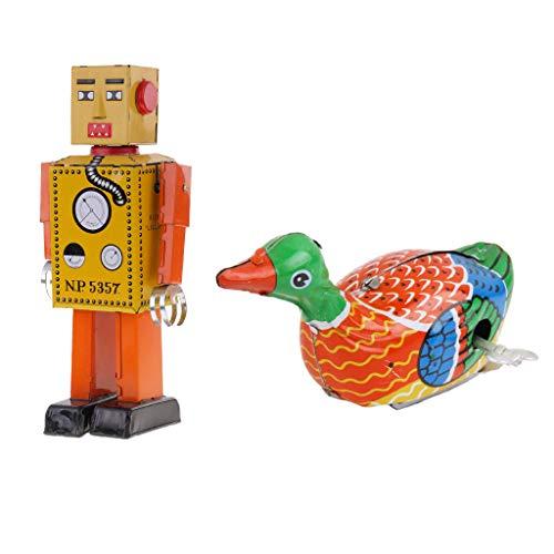 FLAMEER Wind Up Schwimmen Ente Wind Up Roboter Zinn Spielzeug Erwachsene Sammler Kinder Spielzeug - Spielzeug Wind-up Zinn
