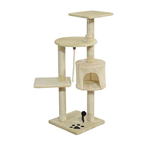 Rascador Gato Altura 112cm Arbol Poste para Arañar Centro de Juegos Gatos