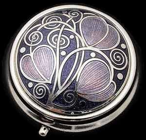 Pill Box in a Celtic Swirls Design. (Purple)