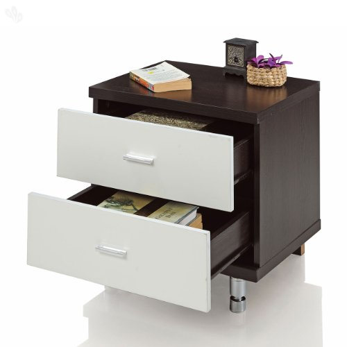 Royal Oak Grape Bedside Table with 2 Drawers (Black & White)