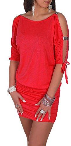 Glamour Empire Damen Tunik Top mit Armschlitz Mini-Kleid Schwarz Partykleid 157 (Rot, EU 42/44, ()